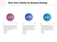Three Years Timeline For Business Planning Ppt PowerPoint Presentation Layouts Example