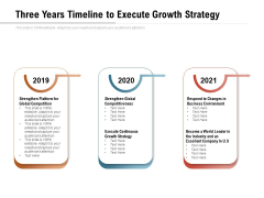 Three Years Timeline To Execute Growth Strategy Ppt PowerPoint Presentation Slides Graphics