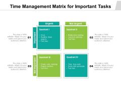 Time Management Matrix For Important Tasks Ppt PowerPoint Presentation Show Professional PDF