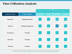 Time Utilization Analysis Ppt PowerPoint Presentation Infographics Professional