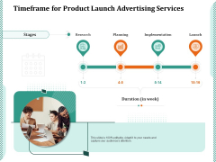 Timeframe For Product Launch Advertising Services Ppt PowerPoint Presentation Gallery Inspiration PDF