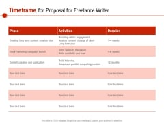 Timeframe For Proposal For Freelance Writer Ppt PowerPoint Presentation File Inspiration PDF