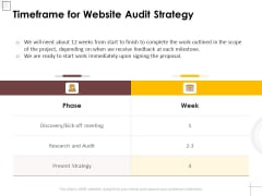 Timeframe For Website Audit Strategy Ppt PowerPoint Presentation Styles Visuals PDF