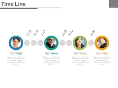 Timeline Diagram With Employee Pictures Powerpoint Slides