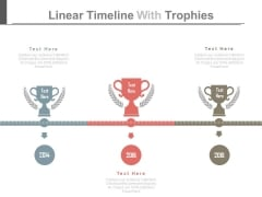 Timeline Diagram With Trophies For Success Planning Powerpoint Slides