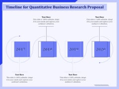 Timeline For Quantitative Business Research Proposal Ppt PowerPoint Presentation Styles Information PDF