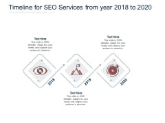 Timeline For SEO Services From Year 2018 To 2020 Ppt PowerPoint Presentation Gallery Design Ideas PDF