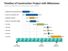 Timeline Of Construction Project With Milestones Ppt PowerPoint Presentation Summary Graphics Example PDF