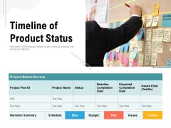 Timeline Of Product Status Ppt PowerPoint Presentation Portfolio Shapes PDF