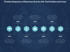 Timeline Sequence Of Business Events With Text Holders And Icons Ppt Powerpoint Presentation Infographic Template Slideshow