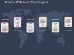 Timeline With World Map Diagram Powerpoint Template