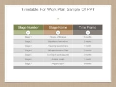Timetable For Work Plan Sample Of Ppt
