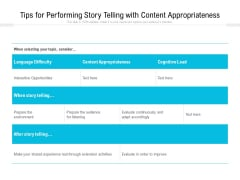 Tips For Performing Story Telling With Content Appropriateness Ppt PowerPoint Presentation Gallery Ideas PDF