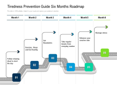 Tiredness Prevention Guide Six Months Roadmap Infographics