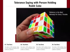 Tolerance Saying With Person Holding Rubik Cube Ppt PowerPoint Presentation File Gridlines PDF
