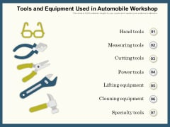 Tools And Equipment Used In Automobile Workshop Ppt PowerPoint Presentation Gallery Files PDF