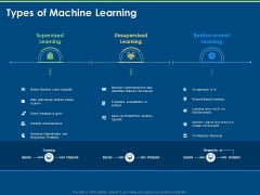 Tools And Techniques Of Machine Learning Types Of Machine Learning Ppt Gallery Brochure PDF