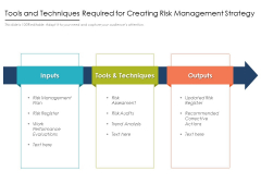 Tools And Techniques Required For Creating Risk Management Strategy Ppt PowerPoint Presentation Gallery Background Designs PDF