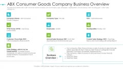 Tools For Improving Sales Plan Effectiveness ABX Consumer Goods Company Business Overview Template PDF