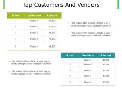 Top Customers And Vendors Ppt PowerPoint Presentation Portfolio Skills