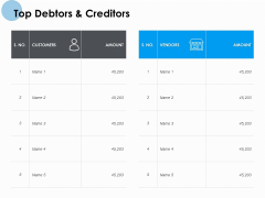Top Debtors And Creditors Customers Ppt PowerPoint Presentation Ideas Visuals