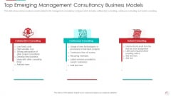 Top Emerging Management Consultancy Business Models Infographics PDF
