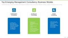 Top Emerging Management Consultancy Business Models Ppt Slides Portrait PDF