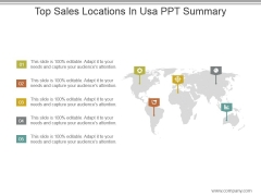 Top Sales Locations In Usa Ppt Summary