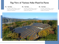 Top View Of Various Solar Panel In Farm Ppt PowerPoint Presentation Gallery Clipart Images PDF