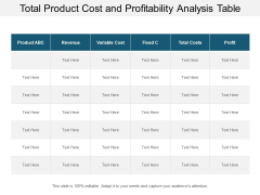 total product cost and profitability analysis table ppt powerpoint presentation summary grid
