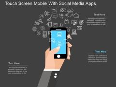 Touch Screen Mobile With Social Media Apps Powerpoint Template