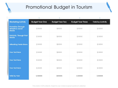 Tourism And Hospitality Industry Promotional Budget In Tourism Download PDF