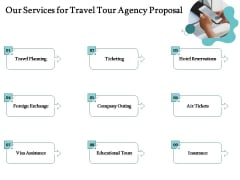 Tourism And Leisure Firm Our Services For Travel Tour Agency Proposal Ppt Pictures Outfit PDF