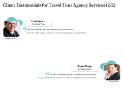 Tourism And Leisure Firm Proposal Client Testimonials For Travel Tour Agency Services Ppt Summary Slides PDF
