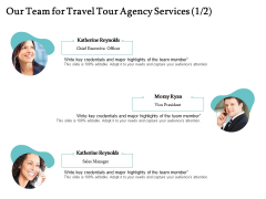 Tourism And Leisure Firm Proposal Our Team For Travel Tour Agency Services Teamwork Ppt File Aids PDF