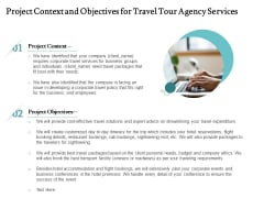 Tourism And Leisure Firm Proposal Project Context And Objectives For Travel Tour Agency Services Ppt File Infographics PDF