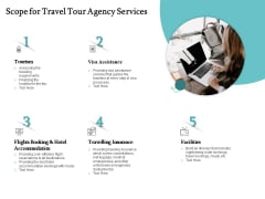 Tourism And Leisure Firm Proposal Scope For Travel Tour Agency Services Ppt Outline Slides PDF