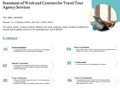 Tourism And Leisure Firm Proposal Statement Of Work And Contract For Travel Tour Agency Services Ppt Slides Good PDF