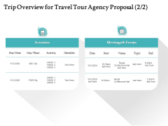 Tourism And Leisure Firm Trip Overview For Travel Tour Agency Proposal Ppt Gallery Templates PDF
