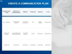 Tracking Energy Consumption Create A Communication Plan Ppt Layouts Design Inspiration PDF