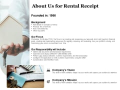Tracking Rent Receipt Invoice Summary About Us For Rental Receipt Ppt Model Slide PDF