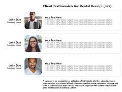 Tracking Rent Receipt Invoice Summary Client Testimonials For Rental Receipt Planning Ppt Infographics Vector PDF