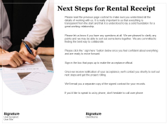 Tracking Rent Receipt Invoice Summary Next Steps For Rental Receipt Ppt Slides Graphic Tips PDF