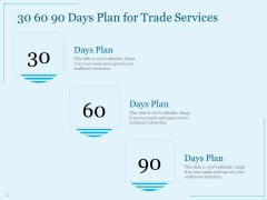 Trade Facilitation Services 30 60 90 Days Plan For Trade Services Ppt Inspiration Elements PDF