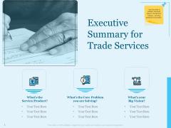 Trade Facilitation Services Executive Summary For Trade Services Ppt Ideas Show PDF
