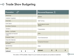 Trade Show Budgeting Marketing Ppt PowerPoint Presentation Styles Picture
