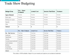 Trade Show Budgeting Ppt PowerPoint Presentation Model Graphic Images