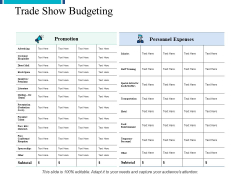 Trade Show Budgeting Promotion Ppt PowerPoint Presentation File Deck