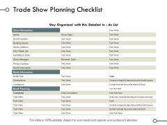 Trade Show Planning Checklist Ppt PowerPoint Presentation File Design Ideas