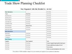 Trade Show Planning Checklist Ppt PowerPoint Presentation Slides Layout Ideas